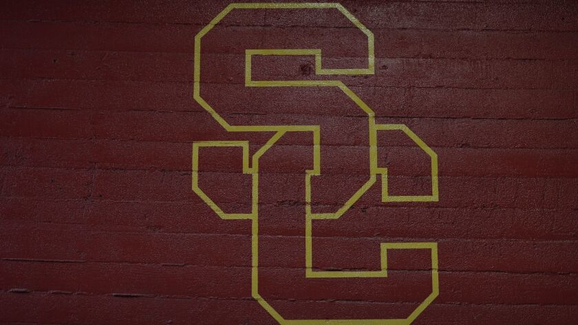 A detail view of the University of Southern California logo painted on the wall prior to a week 11 N