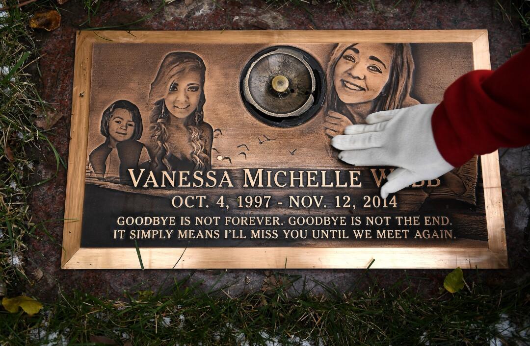 Vanessa Webb's grave marker.