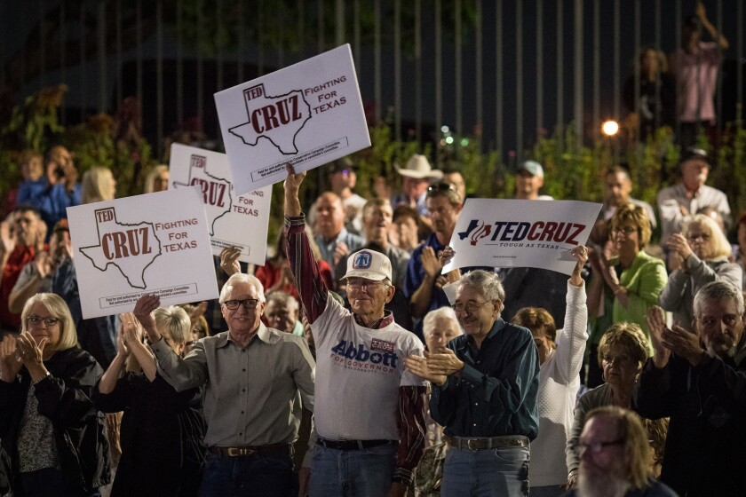 Supporters cheer for Sen. Ted Cruz (R-TX) during a campaign rally at Amarillo Botanical Gardens on S