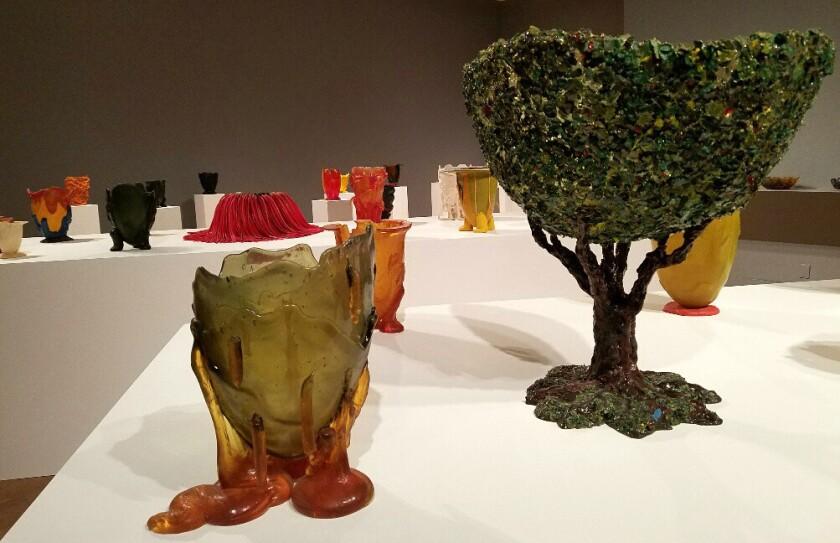 Cast-resin vessels by Gaetano Pesce at MOCA Pacific Design Center.