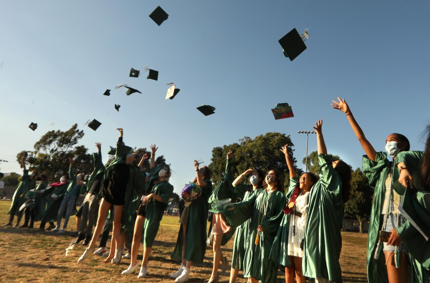 The New West Charter School class of 2020 graduate June 10 at Stoner Park in Los Angeles.