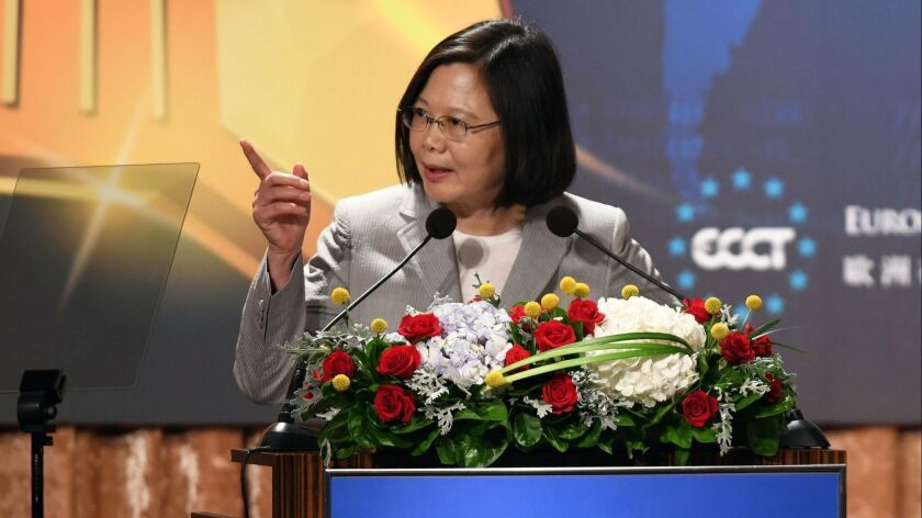 Taiwanese President Tsai Ing-wen, shown last week in Taipei, has vowed to step up security as citizens worry about the growing military and diplomatic strength of China, which resents Tsai for opposing its bid to unify the two sides.