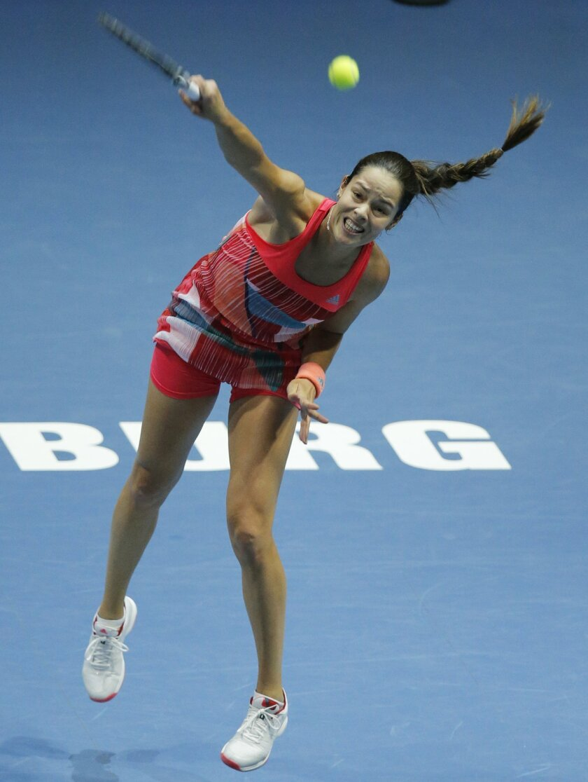 Ana Ivanovic of Serbia serves during the St. Petersburg Ladies Trophy-2016 tennis tournament match against Kateryna Kozlova of Ukraine in St. Petersburg, Russia, Friday, Feb. 12, 2016. (AP Photo/Dmitri Lovetsky)