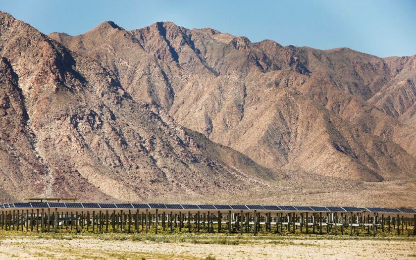This 26-megawatt solar farm on the outskirts of Borrego Springs, which is owned by Clearway Energy, can provide power to San Diego Gas & Electric's nearby microgrid.