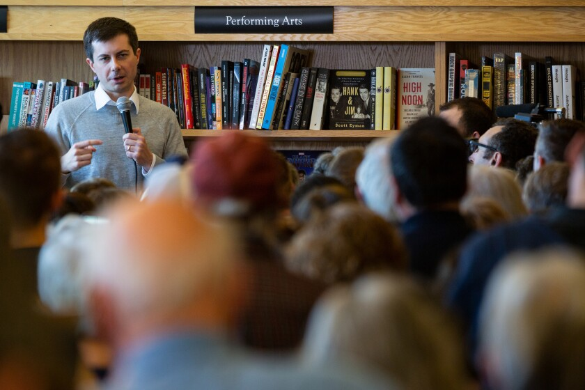 Democratic Primary Candidate and South Bend, IndianaMayor Pete Buttigieg spoke to people at Gibson's