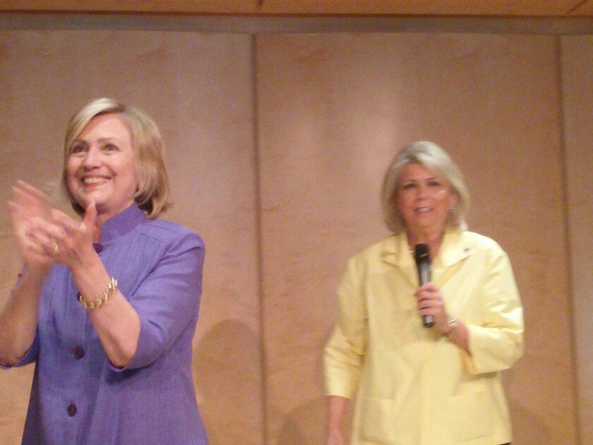 Hillary Clinton and event co-chair Lynn Schenk
