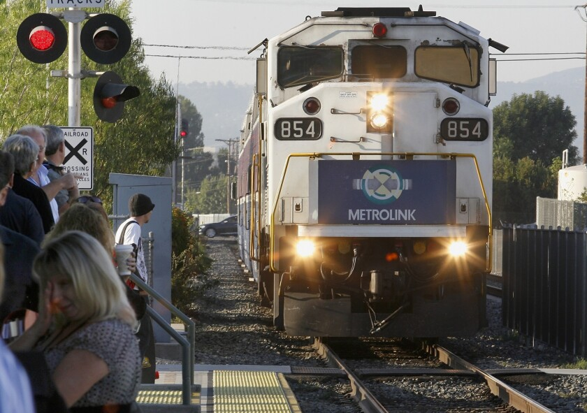 A Metrolink train in 2008. An man was hit and killed by a Metrolink train in North Hollywood on Thursday.