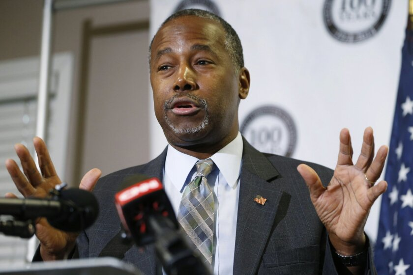 FILE - In this Oct. 29, 2015 file photo, Republican presidential candidate Ben Carson speaks in Lakewood, Colo. Carson's campaign says the Republican White House hopeful was not offered a formal scholarship to the United States Military Academy at West Point as he wrote in his autobiography. (AP Ph