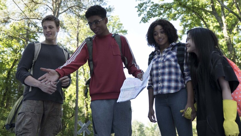 "Harris Dickinson, Skylan Brooks, Amandla Stenberg and Miya Cech in the movie ""The Darkest Minds."""