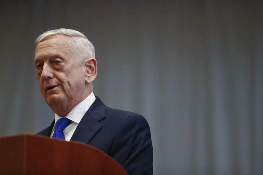 James Mattis, pictured here as secretary of Defense in November 2018.