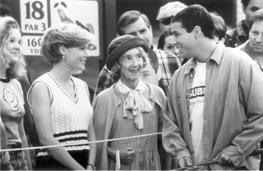 "Frances Bay, center, played the grandmother in Adam Sandler's ""Happy Gilmore."" On ""Seinfeld,"" she memorably played a woman who tangled with Jerry over the last loaf of marble rye bread."