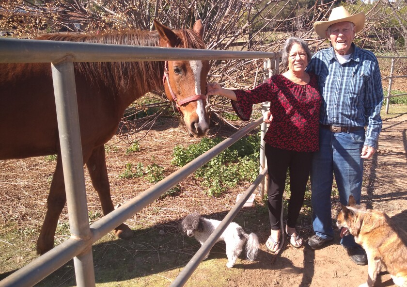 Ramona residents John Degenfelder and Gail Payne plan to exchange vows joined by their animals at Critterville Ranch Feb. 21.