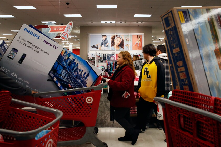 People shopping at Target in Carson on Black Friday