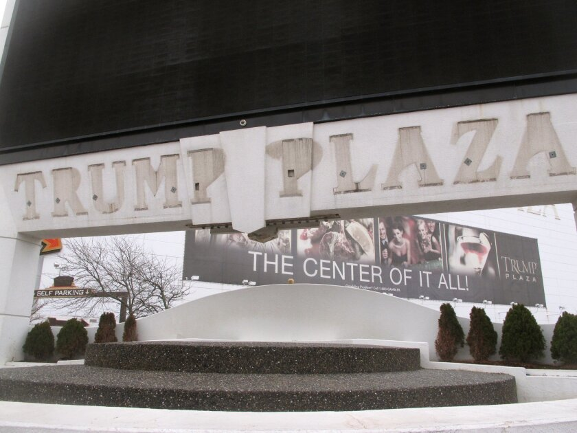 """FILE - This Jan. 14, 2015, file photo, shows the outline of letters that once spelled out """"Trump Plaza"""" on the facade of the former casino in Atlantic City N.J. The federal ban on sports betting in all but four states was upheld Tuesday, Aug. 25, 2015, dealing a blow to New Jersey's latest effort to expand gambling options to help its struggling casino and racetrack industries. (AP Photo/Wayne Parry)"""