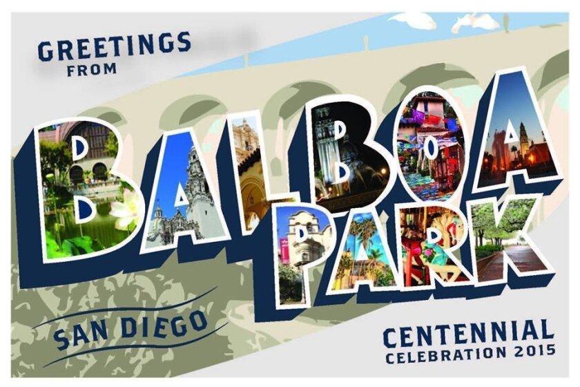 The award-winning Balboa Park Centennial postcard design by Cal State San Marcos art student Jamie Whiffen, 20, of San Marcos. CREDIT: Jamie Whiffen