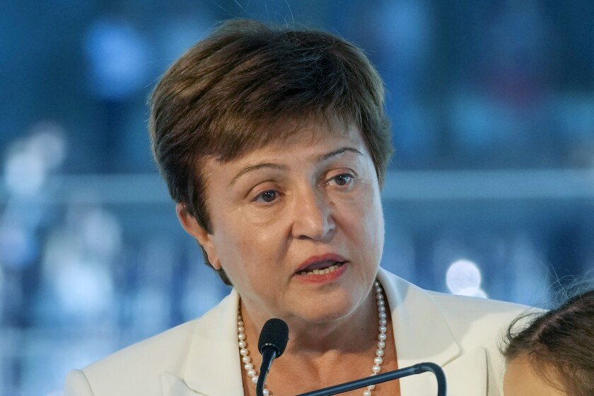 FIEL - In this Sept. 6, 2021, file photo, Kristalina Georgieva, managing director of the International Monetary Fund, delivers a speech during the opening ceremony for the Floating Office where a high-level dialogue on climate adaptation takes place in Rotterdam, Netherlands. The International Monetary Fund said Monday, Oct. 4, that its board of directors has been briefed by attorneys from the law firm whose investigation found that Georgieva and other officials pressured World Bank employees to alter data affecting the business rankings of China and other nations. (AP Photo/Peter Dejong, File)