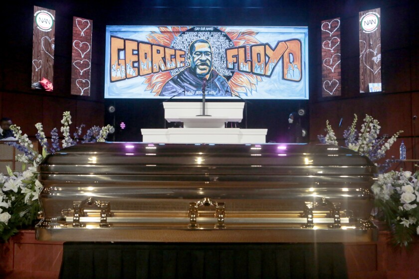 The casket of Gorge Floyd rests at his memorial service on Thursday, June 4, 2020 in Minneapolis.