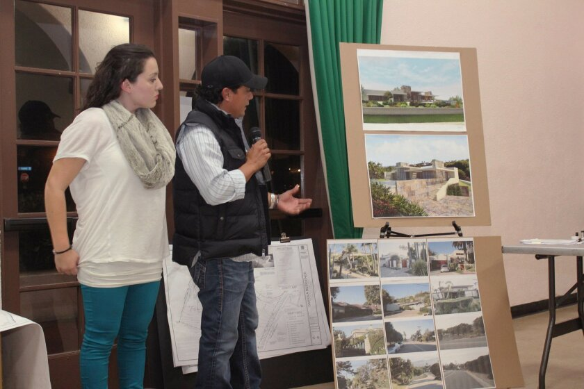 Gricel Cedillo and Luis Gutierrez of Callisto Architects presents plans for a new two-story, 11,696-square-foot residence in La Jolla Shores at the Dec. 6 meeting. Pat Sherman