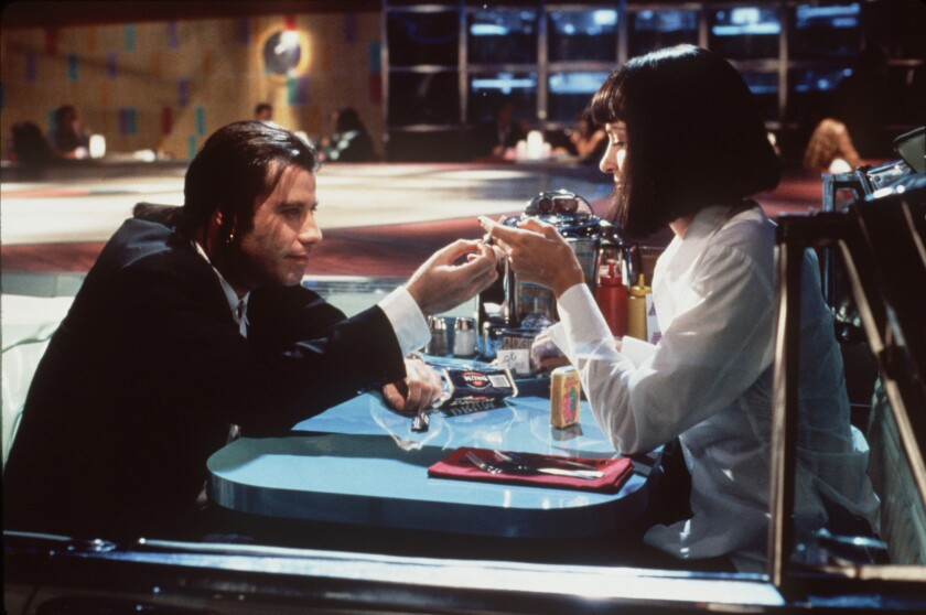 "John Travolta and Uma Thurman in a scene from the Miramax film ""Pulp Fiction."""