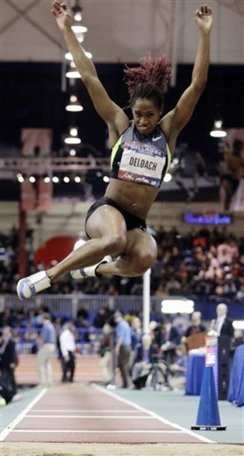 Janay DeLoach competes in the women's long jump during the 106th Millrose Games on Saturday, Feb. 16, 2013, in New York. DeLoach won the event with a jump of 22-7 3/4. (AP Photo/Frank Franklin II)
