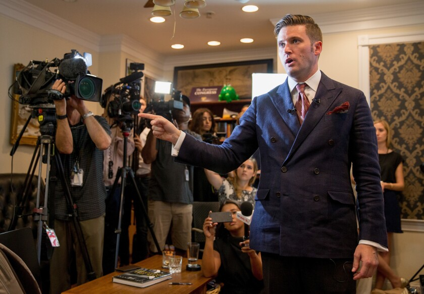 """White nationalist Richard Spencer, the self-described creator of the term """"alt-right,"""" speaks to select media in his office space in Alexandria, Va., on Aug. 14."""