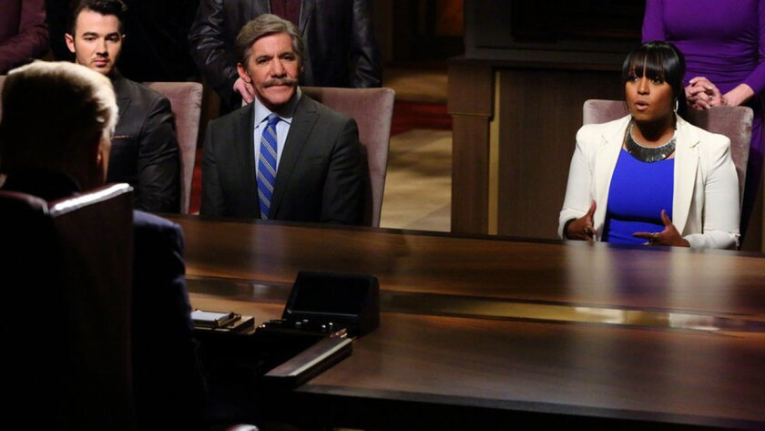 """Sitting across from Donald Trump on """"Celebrity Apprentice"""" are, from left, Kevin Jonas, Geraldo Rivera and Keshia Knight Pulliam."""