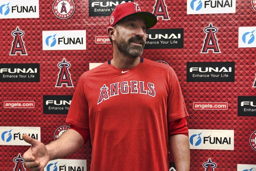 Former New York Mets manager Mickey Callaway is serving as the Angels' pitching coach this season.