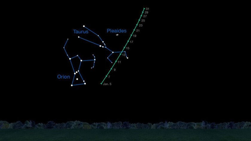 Comet C/2014 Q2 (Lovejoy) is visible to sky watchers using binoculars on clear nights in January 2015.
