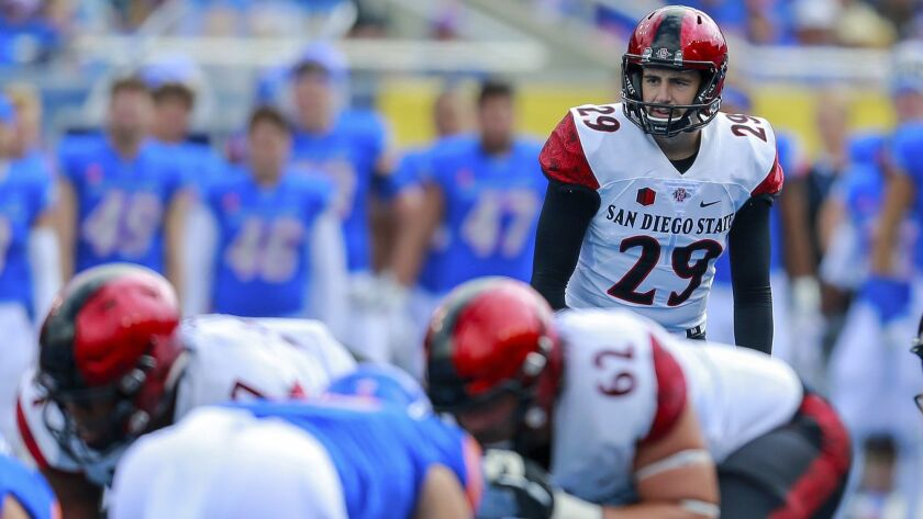 San Diego State place kicker John Baron II (29 prepares to kick a field goal against Boise State in