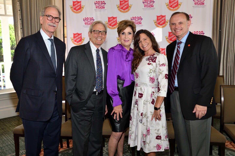 Jim Moxham, Bob Novak, Judy Burer (Women's Auxiliary VP), Pamela Lennen (Salvation Army Women's Auxiliary coordinator), Cary Blanchette (Salvation Army director of development)