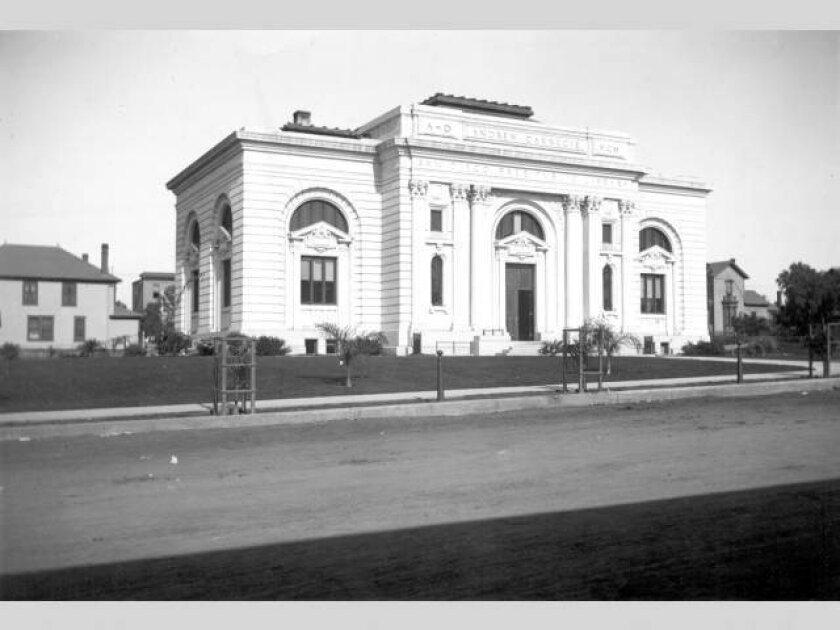 San Diego Free Public Library opened its doors to the public on April 23, 1902, the first Carnegie Library Building west of the Mississippi. Designed by architects Ackerman and Ross of New York City, the Classical Revival style structure was built to serve a city population of less than 17,000 and