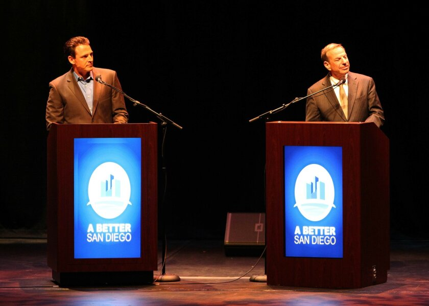 Assemblyman Nathan Fletcher (left) and Rep. Bob Filner (right) at Wednesday's mayoral debate. Fellow invitees City Councilman Carl DeMaio and District Attorney Bonnie Dumanis declined to attend.