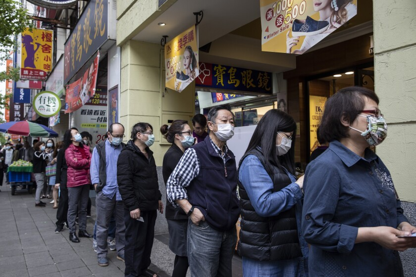 People in Taiwan wearing masks