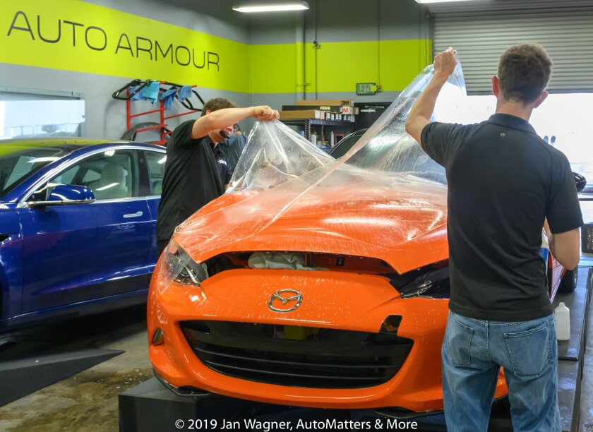 01825-20190730 XPEL PPF - Paint Protection Film - day 2 of installation on 2019 Mazda MX-5 Miata 30th Anniversary Edition by Auto Armour in San Diego+AUDIO-Evan-Z6