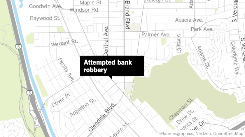 Glendale police were called to the Bank of America at 3812 San Fernando Road on Tuesday, Aug. 6, for an attempted robbery. Two men were detained in connection with the incident.