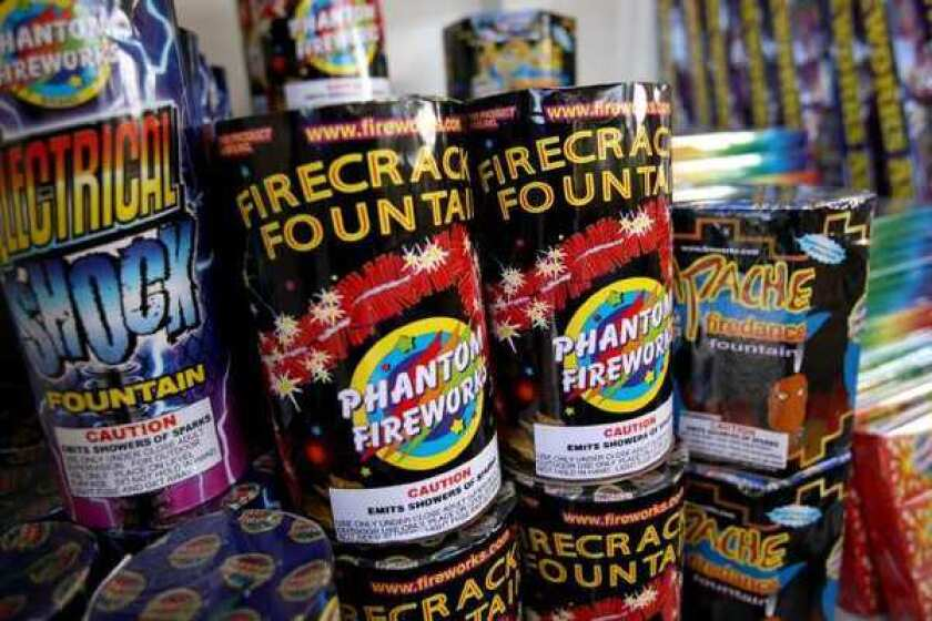 Firecracker Fountains sold at Kaiser Woodland Schools Foundation's Phantom Fireworks booth in the Norms Restaurant parking lot in Costa Mesa.