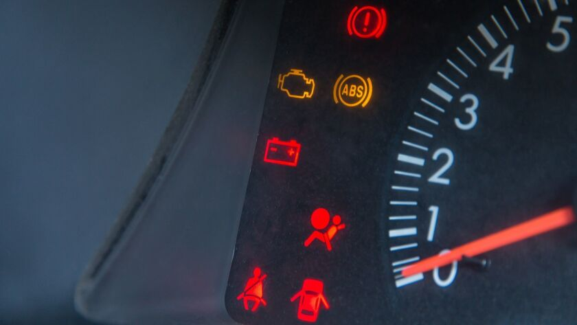 Screen display of car status warning light on dashboard panel symbols which show the fault indicator