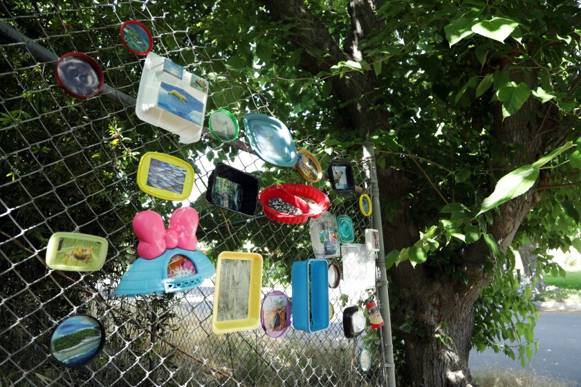 """""""What Now?"""" is a photo collage in Woodland Hills by Constance Mallinson, created with plastic litter and photos of endangered species and environments."""