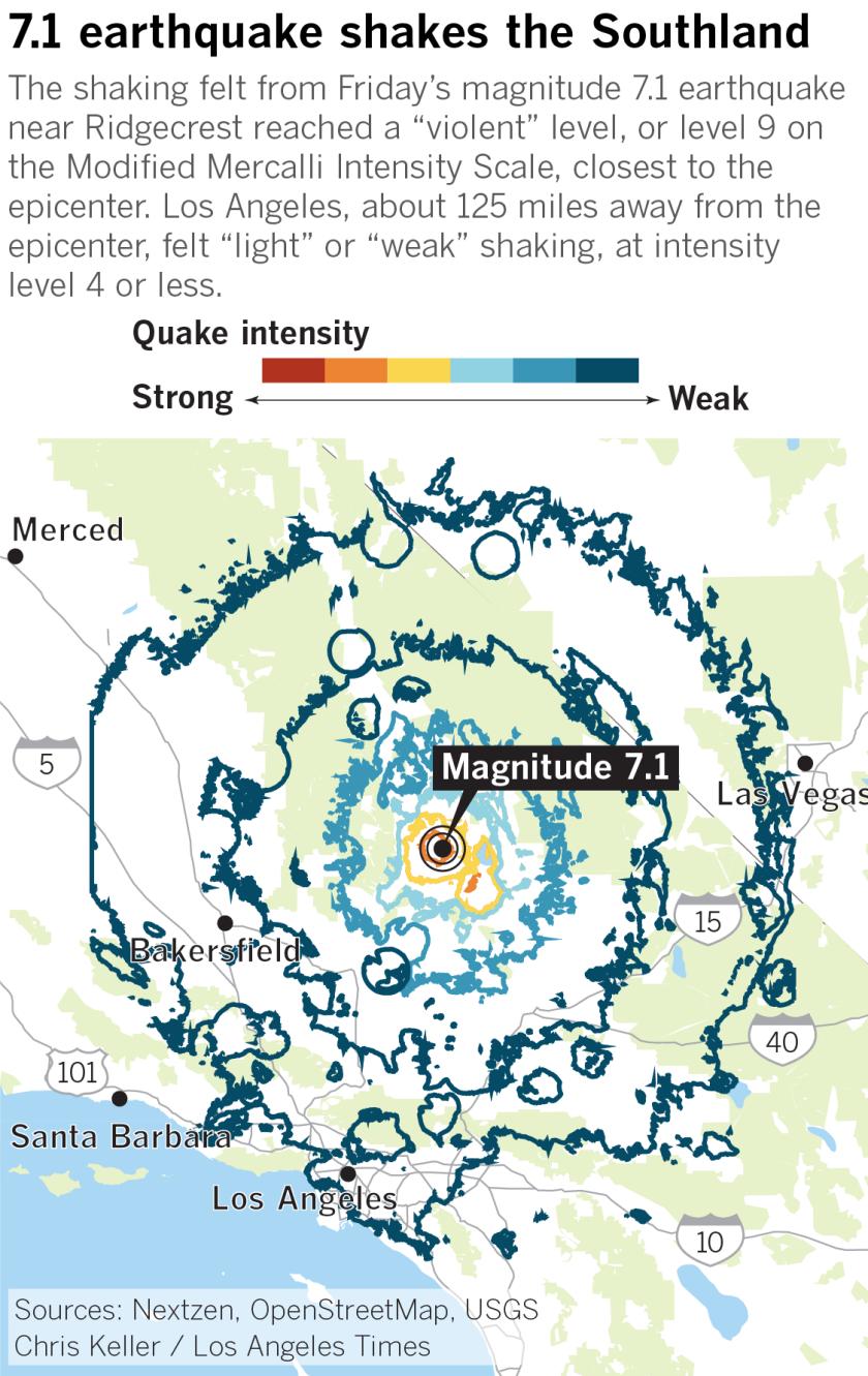 Ridgecrest magnitude 7.1 earthquake shaking intensity