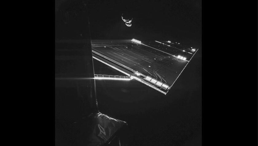 Rosetta's selfie at comet image was created by cameras on the lander Philae on September 7.