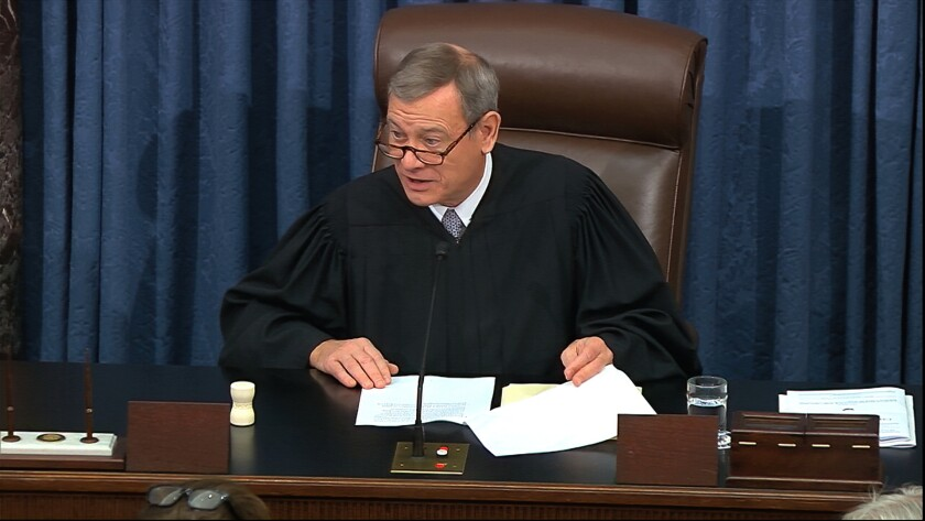 In this Feb. 3, 2020 file image from video, presiding officer Chief Justice of the United States John Roberts speaks as closing arguments in the impeachment trial against President Donald Trump begin in the Senate at the U.S. Capitol in Washington. (Senate Television via AP)