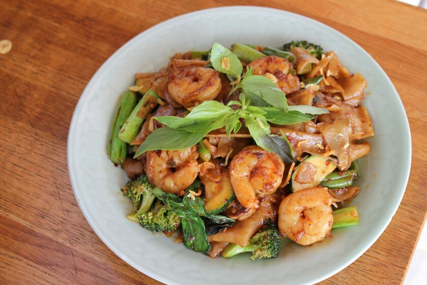 Saffron's drunken noodles are a classic dish from the venerable Thai eatery.