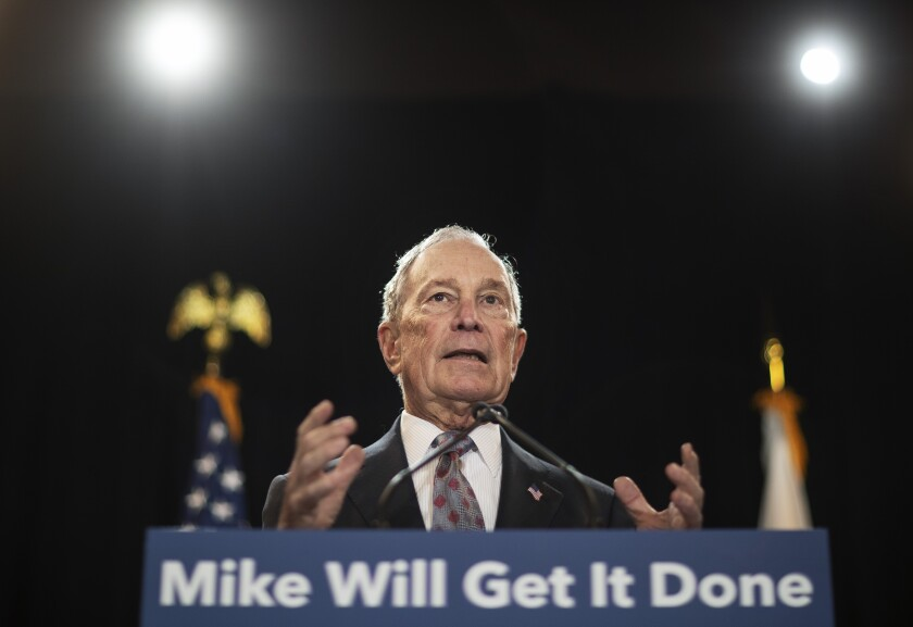 Then-Democratic presidential candidate Michael Bloomberg speaks at a campaign event in Providence, R.I., in February.
