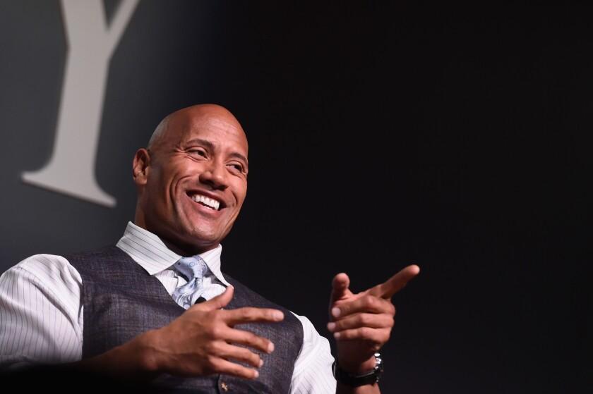 Dwayne Johnson speaks during the Fast Company Innovation Festival in New York on Nov. 9.