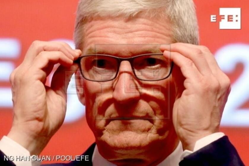 File photograph of Apple CEO Tim Cook during the Economic Summit held for the China Development Forum in Beijing, China, March, 23, 2019. During the event Cook urged China to open up its economy. EFE/EPA/NG HAN GUAN / FILE
