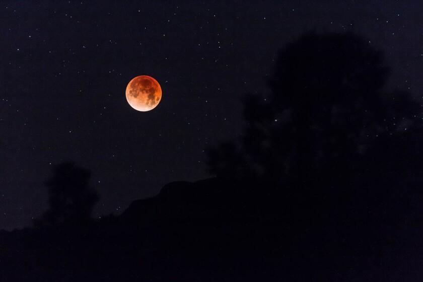 "Guy Buchanan sent us this photo he took of the ""wonderful"" blood moon'' he saw on Jan. 13, 2018."