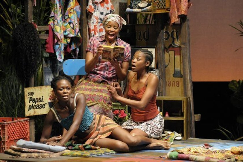 Zainab Jah as 'Josephine,' Carla Duren as 'Sophie' and Pascale Armand as 'Salima' in La Jolla Playhouse's production of the African war drama 'Ruined.' Photo by Kevin Berne