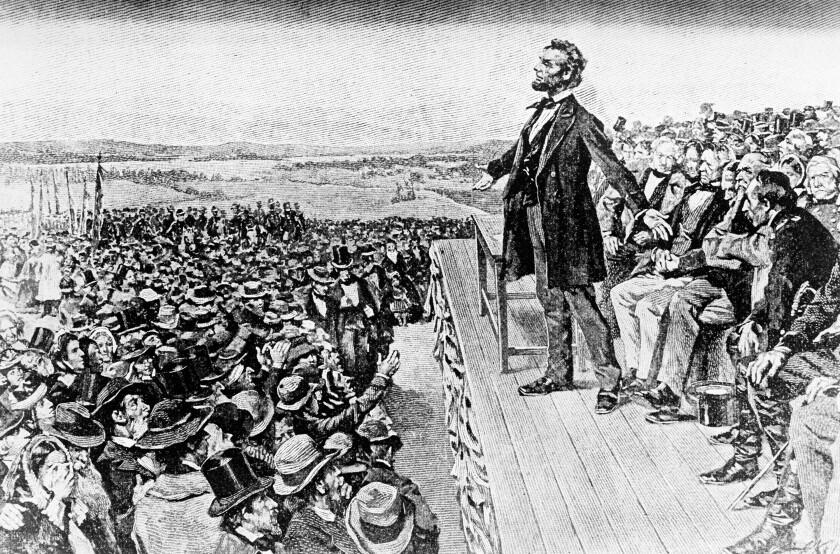 Illustration depicts President Abraham Lincoln making his Gettysburg Address