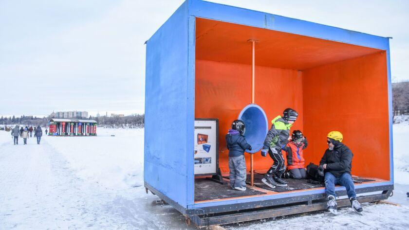 The Wind Catcher warming hut.