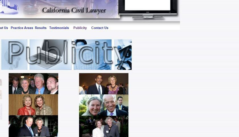 Lawyer Svitlana Sangary faces a possible suspension after a State Bar of California judge ruled she posted doctored photos on her work website that implied she mingled with high-profile politicians and celebrities.